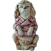 Majolica Figural Sitting Dog Bank