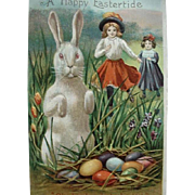 Standing Rabbit With Paws Up Postcard Girls Running Toward Grasses To Locate Eggs A Happy Eastertide