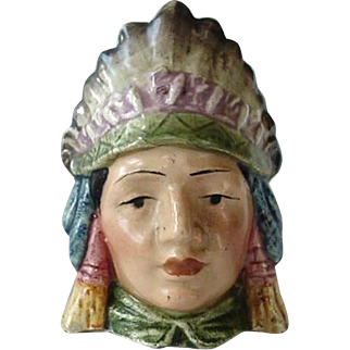 Majolica American Indian Still Bank In Full Head Dress