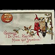 Halloween Embossed Postcard L&E Series 2272 HBG (Griggs) JOL Moon Owl And Elf Sitting On Tree Branch