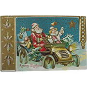 Embossed Santa And Girl Delivering Presents In Car Christmas Postcard