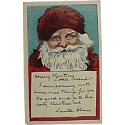 Signed Postcard Santa Claus With Christmas Eve Message
