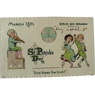 St Patrick's Day March 17th Erin Go Bragh Postcard Title God Bless The Irish