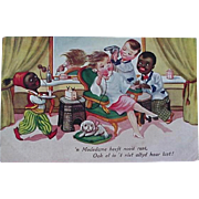 Black Americana Dutch Language Postcard Lady Getting Hair Done