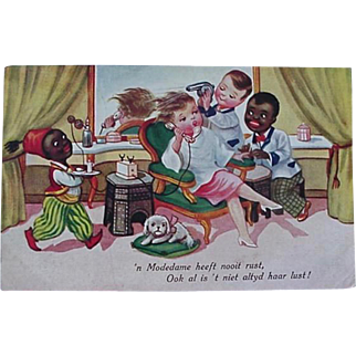 Black Americana Dutch Language Postcard Lady Getting Hair Done