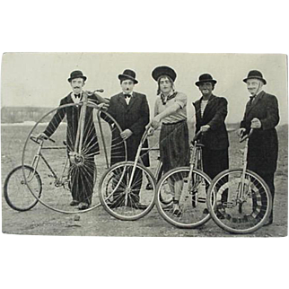Four Men With Vintage Bicycles French Photo Postcard Les Joyeux Cascadeurs Translated The Merry Stuntmen