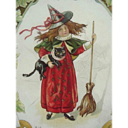 1913 Halloween Incised Postcard With Witch Holding Black Cat And Broom