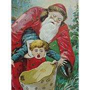 Christmas Embossed Postcard Santa Putting Boy In Bag