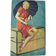 Mutoscope Card Titled Disturbing Elements 1940's Lady Sitting On Trunk In Rain