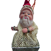 Vintage Celluloid Face Santa Candy Container With Netting And Hanging Holder