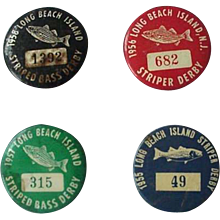 Long Beach Stripped Bass Derby Pin Back 1955-1958 Lot of 4
