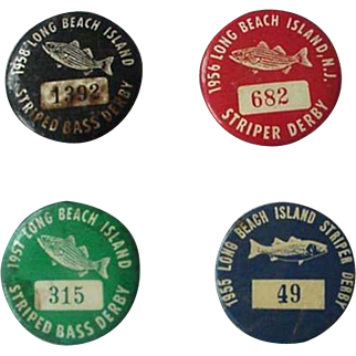 Long Beach Stripped Bass Derby Pin Back 1955-1958 Lot of 4