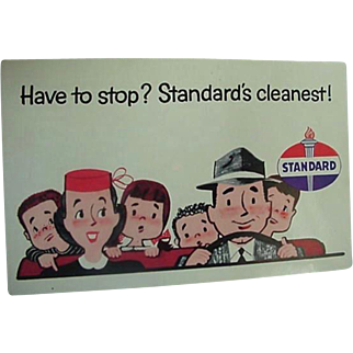 Standard Oil Advertising Postcard 1950's Title Have To Stop? Standard's Cleanest!