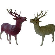 Vintage Celluloid Plastic Reindeer Made In Japan Lot Of 2