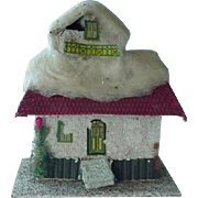 Vintage Japan Putz Village House Christmas Spun Cotton Batting Candy Container