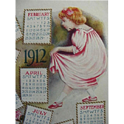 1912 Calendar Postcard With Lovely Pink Roses And Little Girl Holding Her Dress