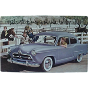 1950 Kaiser Henry J Salesman Postcard Take The Henry J On Your Holiday