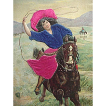 Western Cowgirl With Silk Applied Clothing Postcard Riding Horse With Lasso Gun On Hip