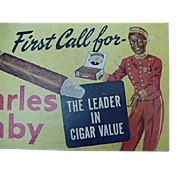 Charles Denby Counter Cigar Advertising Sign 1930's With Black Americana Male Bellhop