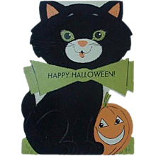 Rust Craft Halloween Greeting Card Black Cat With JOL Pumpkin By His Side 1950's