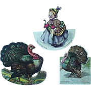 Diecut Advertising Trade Card Turkey Hood Sarsaparilla Rice's Pan Dandy Bread And Thanksgiving Placecard Lot of 3