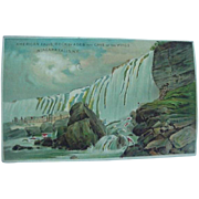 American Falls Rock Of Ages And Cave Of The Winds Niagara Falls NY Hold To Light Postcard 1910