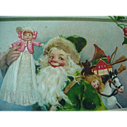 Smiling Santa Dressed In Green Robe Christmas Postcard Signed By Frances Brundage