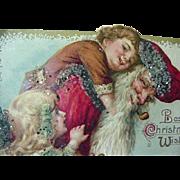 Winsch Santa Giving Boy Piggyback Ride And Blonde Girl Postcard 1914 Glitter And Glass Beading