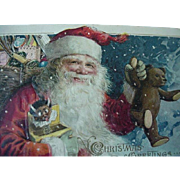 Winsch Santa Claus Embossed Postcard With Teddy Bear And African American Black Jack In The Box 1913