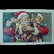 John Winsch 1913 Christmas Santa Claus Postcard Arms Full Of Dolls And Black Americana Doll