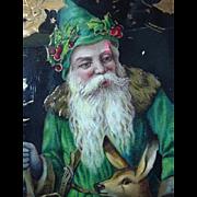 Old World Santa Dressed In Green Gel Postcard Printed In Germany 1913
