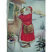 Santa With Hammer Putting Up Holly Decoration Postcard A Merry Xmas To You