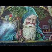 Santa In Blue Robe Postcard 1916 Angels In Corner Of Card Toys Staff