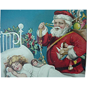 Santa Standing Over Sleeping Girl Bed Postcard International Pub Co Printed In Germany