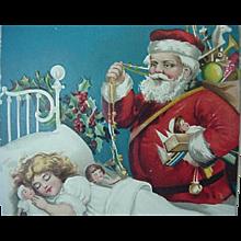 Santa Standing Over Sleeping Girl Bed Postcard International Pub Co Printed In Germany