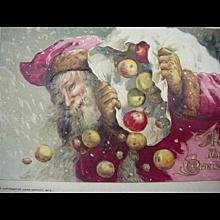 John Winch Embossed  1913 Santa Losing His Apples Out The Bag