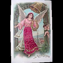 Lovely Christmas Angel Holding Harp Postcard