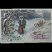 Merry Christmas Postcard Lady Walking Through Snow