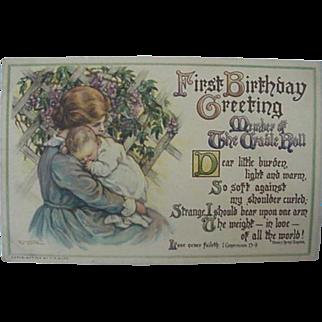 Baby's First Birthday Greeting Postcard