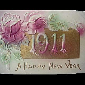 Happy New Year Embossed Postcard 1911