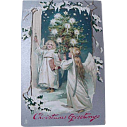 Tuck Embossed Christmas Card Two Angels With Christmas Tree