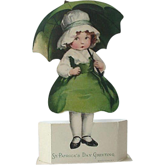 St Patrick Day Die Cut Placard Place Card By Wolf Made In USA And Germany Lot of 4