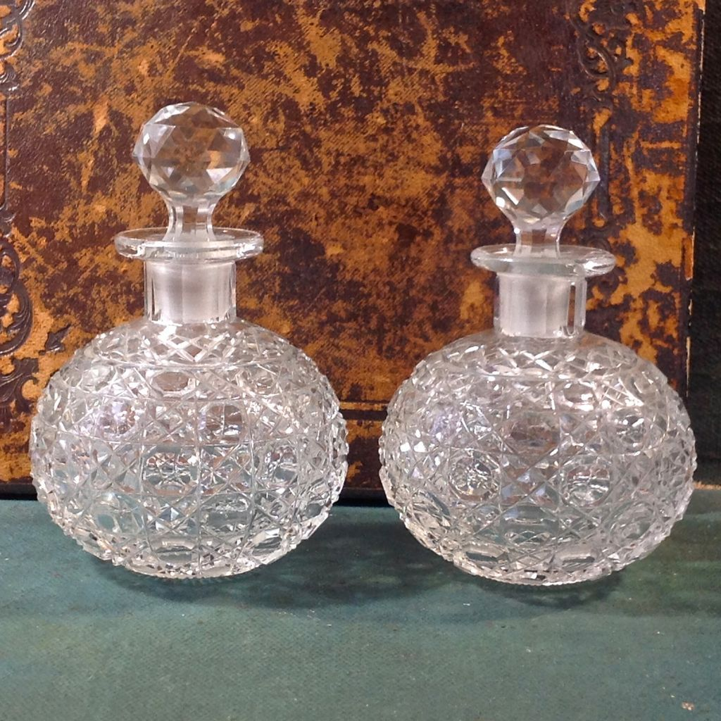 Pair Victorian Cut Glass Cologne Bottles From