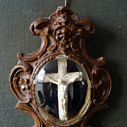19th Century Crucifix Devotional Under Glass in Rococo Frame