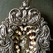 Antique Spanish Colonial Madonna Devotional Reliquary in Silver Repousse Frame