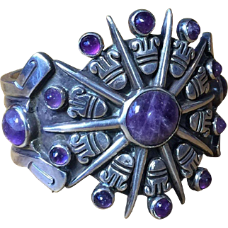 Signed William Spratling Amethyst Aztec Sun Cuff Bracelet ca. 1940 Heavy Sterling Silver