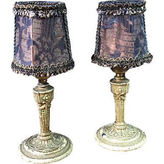 Pair Boudoir Vanity Lamps Painted Metal Original Lace Shades 1925