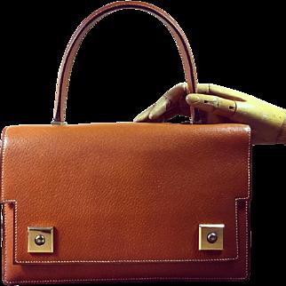 Hermes Authentic Vintage Saddle Leather Piano Bag Handbag 1965