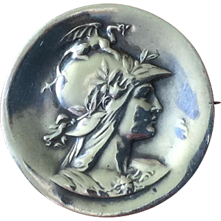 Unger Brothers Sterling Silver Art Nouveau Brooch Pin Goddess Athena