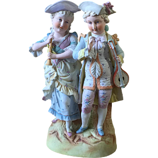 """Late 19th Cent. Bisque Figurine of Young Couple Hand Painted 13.5"""" tall"""